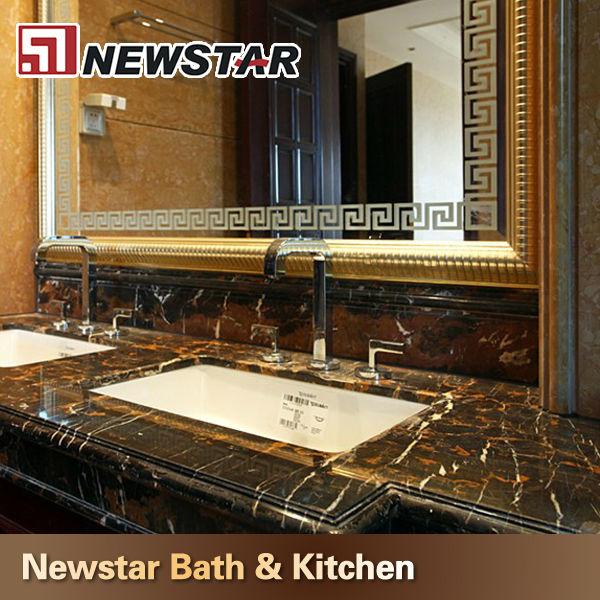 Prefabricated Bathroom Countertops: Prefab Black Portoro Marble Bathroom Countertops
