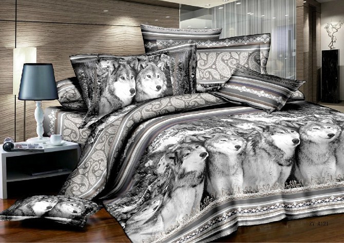 Wholesale Cool 3d Wolf Print Bedding Sets Queen King Size