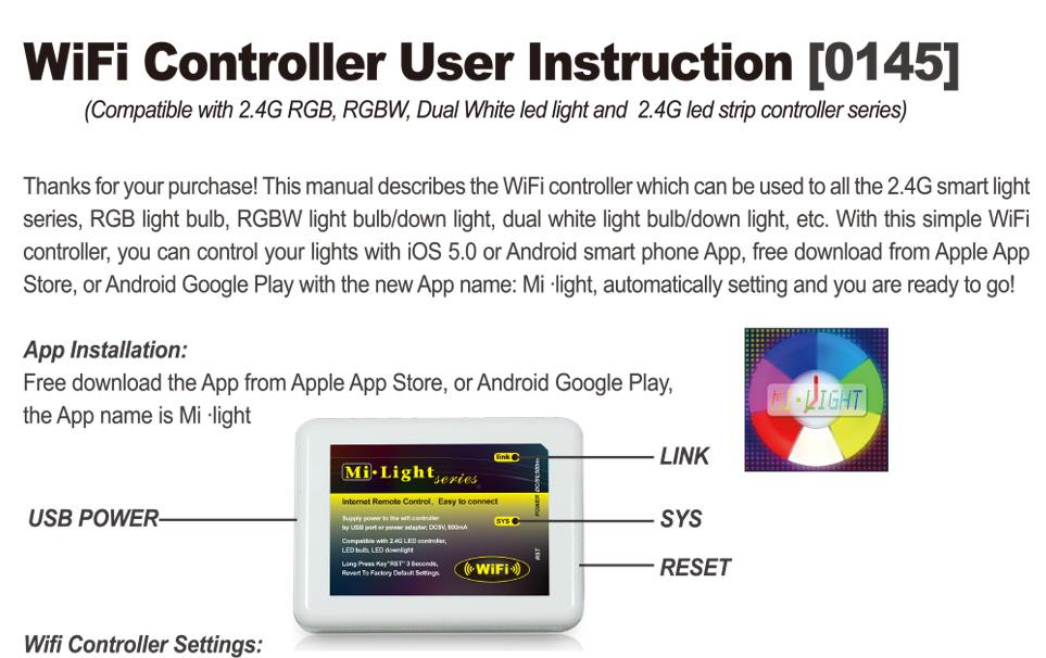 2 4g Wireless Rf Remote 4 Zone Rgb Led Controller Wifi Mi