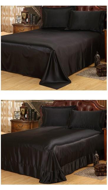 buy silk satin bedding set california king size queen full twin black sheets. Black Bedroom Furniture Sets. Home Design Ideas