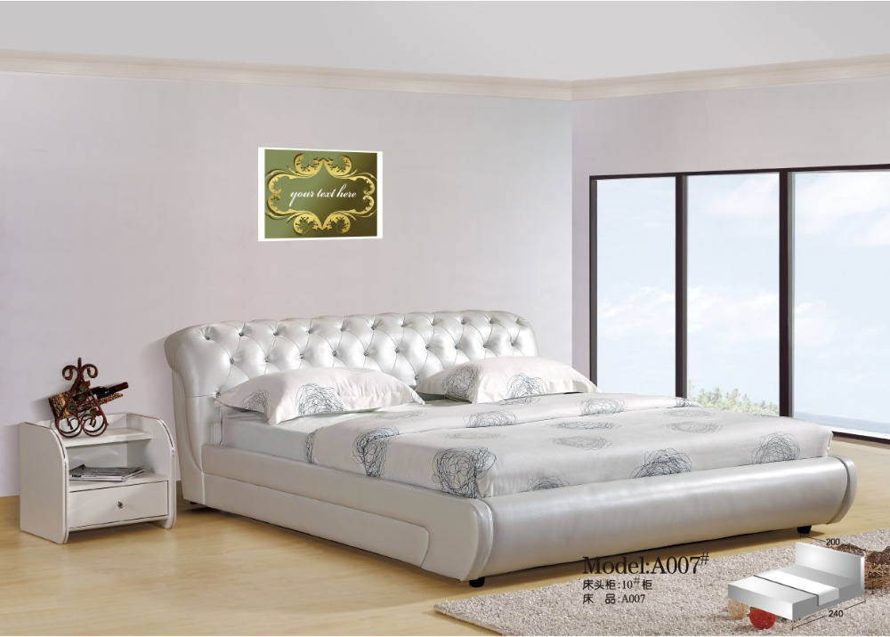 Elegant High Quality Modern Soft White Leather Bed-in