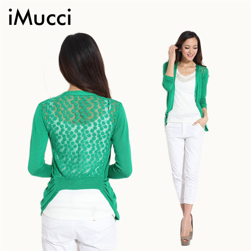 Hot High Quality Fashion Women Cardigan Lace Sweet Candy Pure Color Sexy Lady Slim Crochet Knit