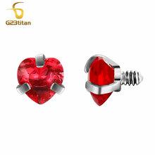 G23titan мяч для пирсинга тела 16 г внутреннее резьбовое Сердце Стиль губ бровей Язык живота пупка кольцо ювелирные изделия для пирсинга части(Китай)