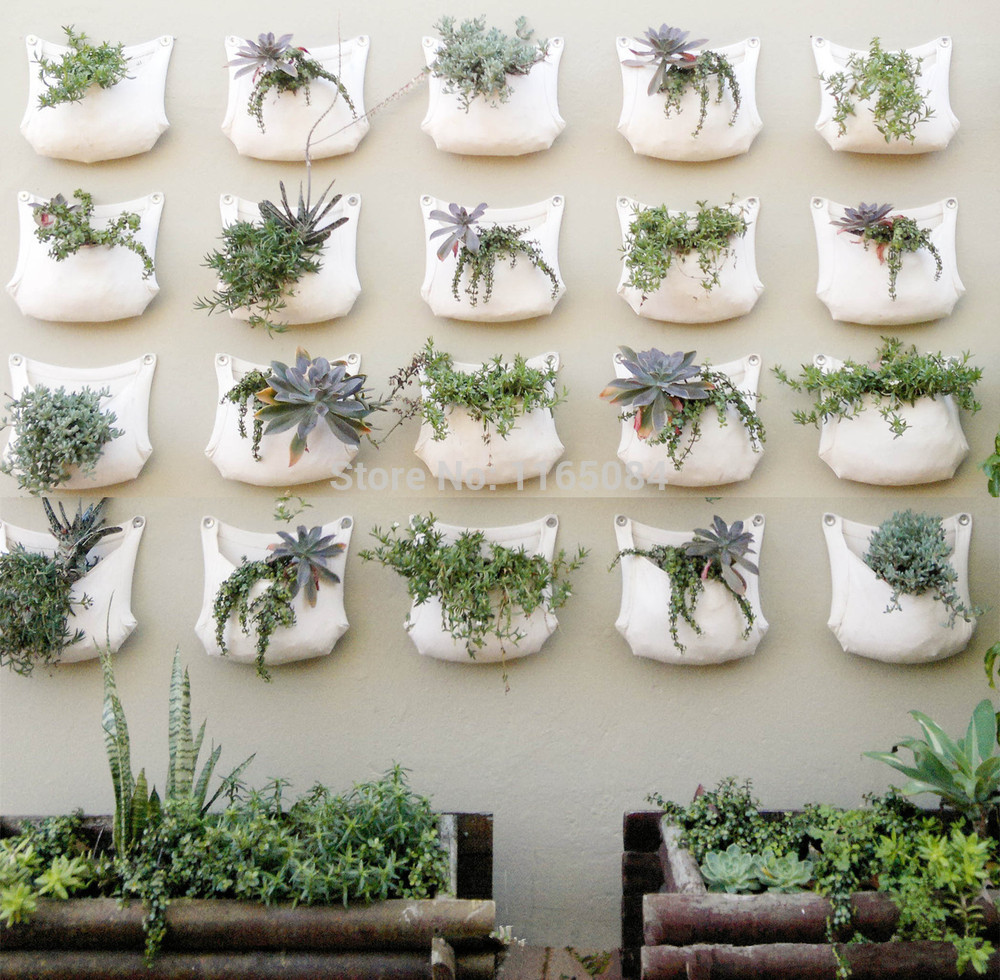 2 Pieces 30*35cm Green Grow Bag Wall Hanging Planter