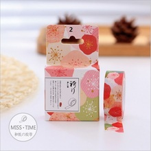 1.5cm Width Cute Floral Flower Washi Tape Adhesive Tape DIY Diary Decorative Scrapbooking Sticker Label Masking Tape