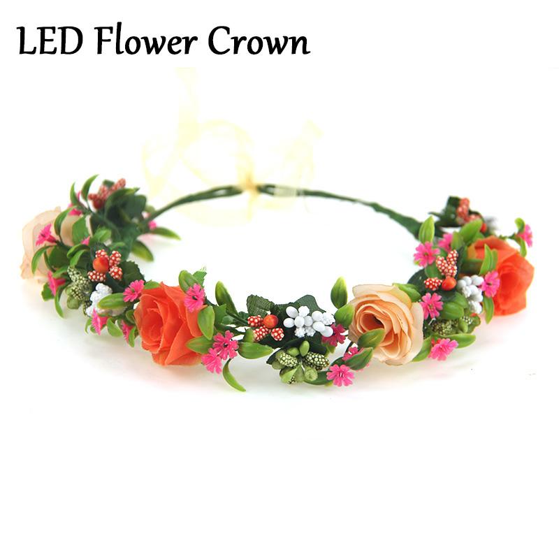 orange fleur couronne pas cher artificielle fleur rose guirlande mari e bandeaux casamento. Black Bedroom Furniture Sets. Home Design Ideas