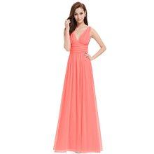 Женское платье подружки невесты, длинное шифоновое платье трапециевидной формы с v-образным вырезом для свадебной вечеринки, элегантное пл...(China)