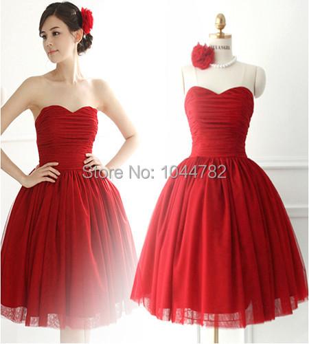 9b6d856c94e9 New cool wedding dresses: Red bridesmaid dresses knee length