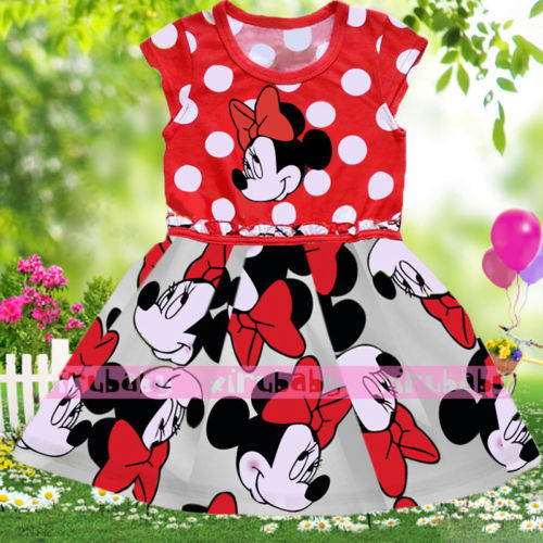 Baby Kids Girls Princess Party T-shirt Tops Dress 1-6 Y Clothes