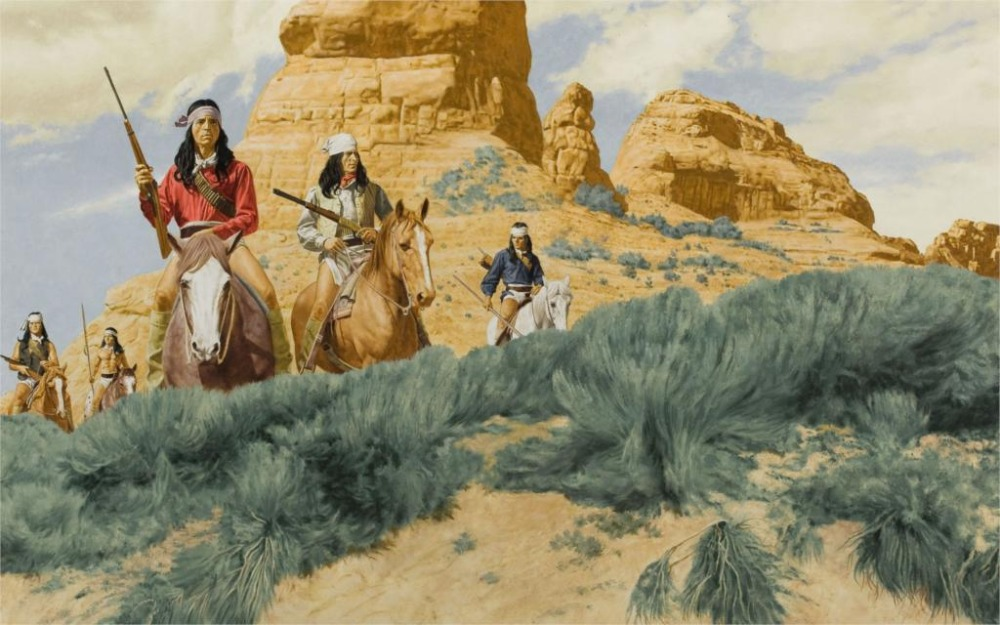 Indian drawing horses riders guns native american western painting Home Decor Canvas Poster 24x36 inch Silk Poster wall decor