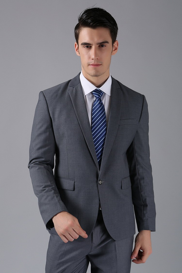 (Kurtki + Spodnie) 2016 Nowych Mężczyzna Garnitury Slim Fit Niestandardowe Garnitury Smokingi Marka Moda Bridegroon Biznes Suknia Ślubna Blazer H0285 49