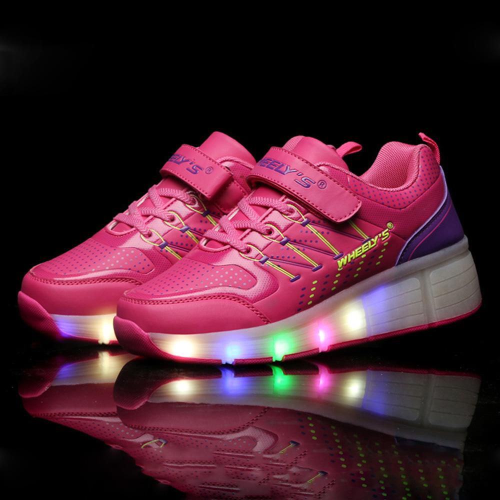 New 2016 Summer Child Wheely s Kids LED Light Heelys Roller Skate Girls Shoes Sneakers With