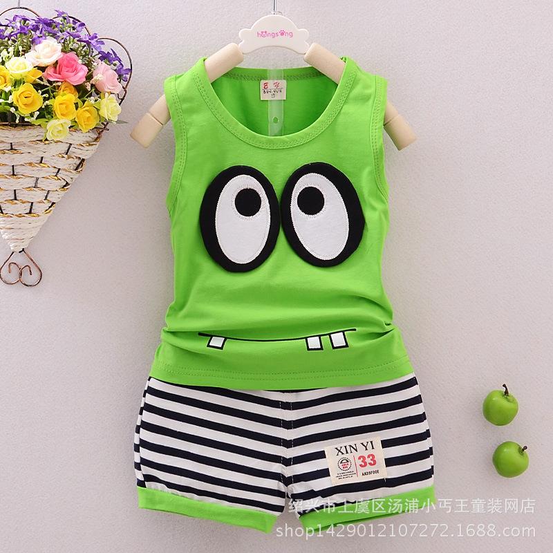 2015 new summer children s clothing suit Korean cotton vest suit Baby boys clothes suits ensemble