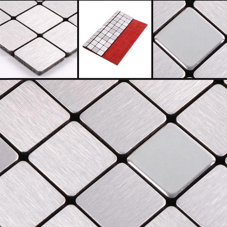 Self Adhesive Bathroom Ceiling Tiles: Buy Brush Silver & Mirror Mosaics Tiles Metal Stickers