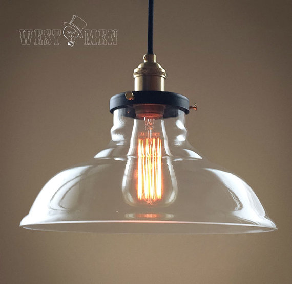 Rustic Rural Clear Glass Bell Shade Pendant Light Retro