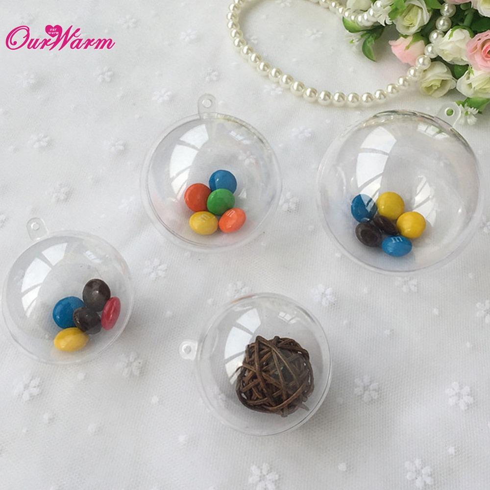 50pcs 80mm transparent plastic gift candy box fillable ball baubles decor wedding xmas christmas. Black Bedroom Furniture Sets. Home Design Ideas