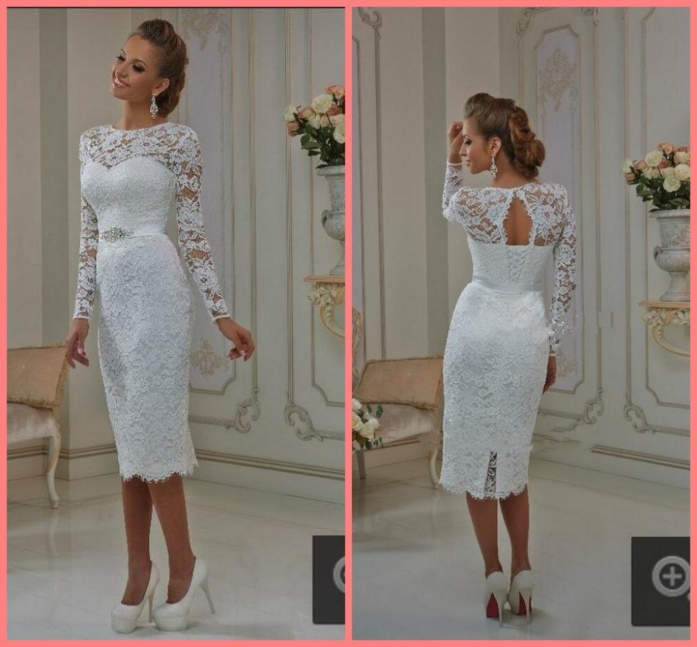 Elegant Long Sleeve Tea Length Wedding Dresses Simple: New Elegant White Ivory Lace Long Sleeve Tea Length