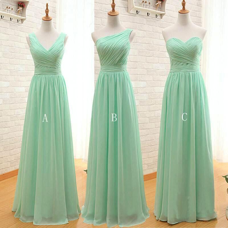 Mint Green Long Chiffon A Line Pleated Bridesmaid Dress