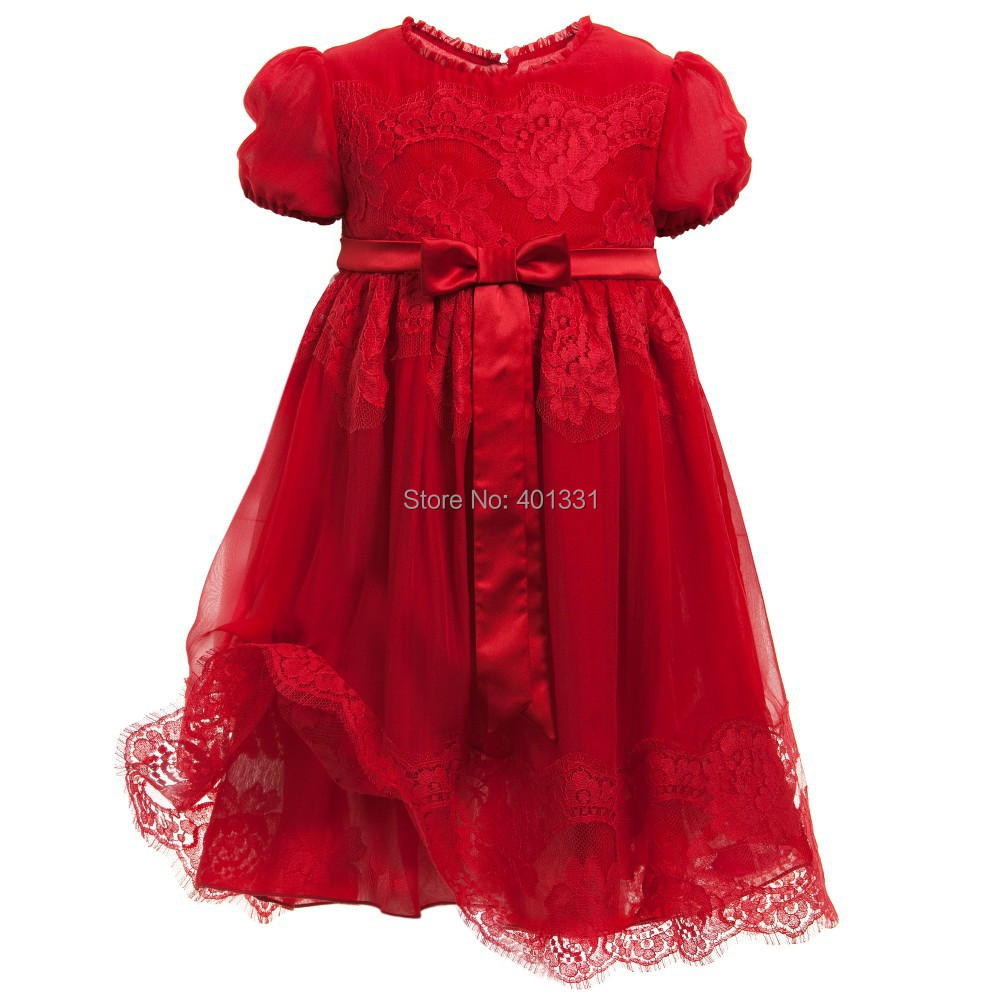 2015 New Girl Silk red dresses Best Quality baby girl summer dress design for kids