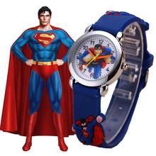 2016 Hot Sale Superman Relógio Dos Esportes Da Forma Ocasional Relógios de Quartzo Crianças Dos Desenhos Animados Crianças Relógio de Pulso Hora de Relógio Relojes Relogio