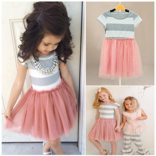 Girls font b Dress b font Baby Kids Girls Princess font b dress b font summer