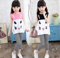 New 2016 Kids Girls Clothing Set Cat Tops Stripe Pants Cotton Baby Girls Suits Set Summer