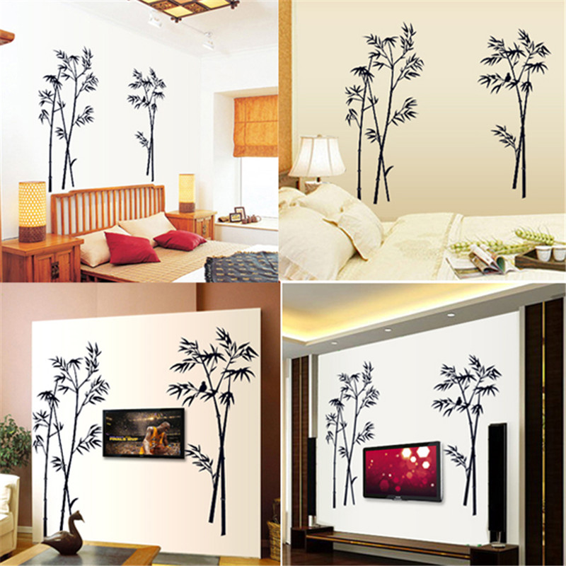 Free Shipping Bamboo Mural Removable Craft Art Black Wall Sticker Decal Living Room Home Decor