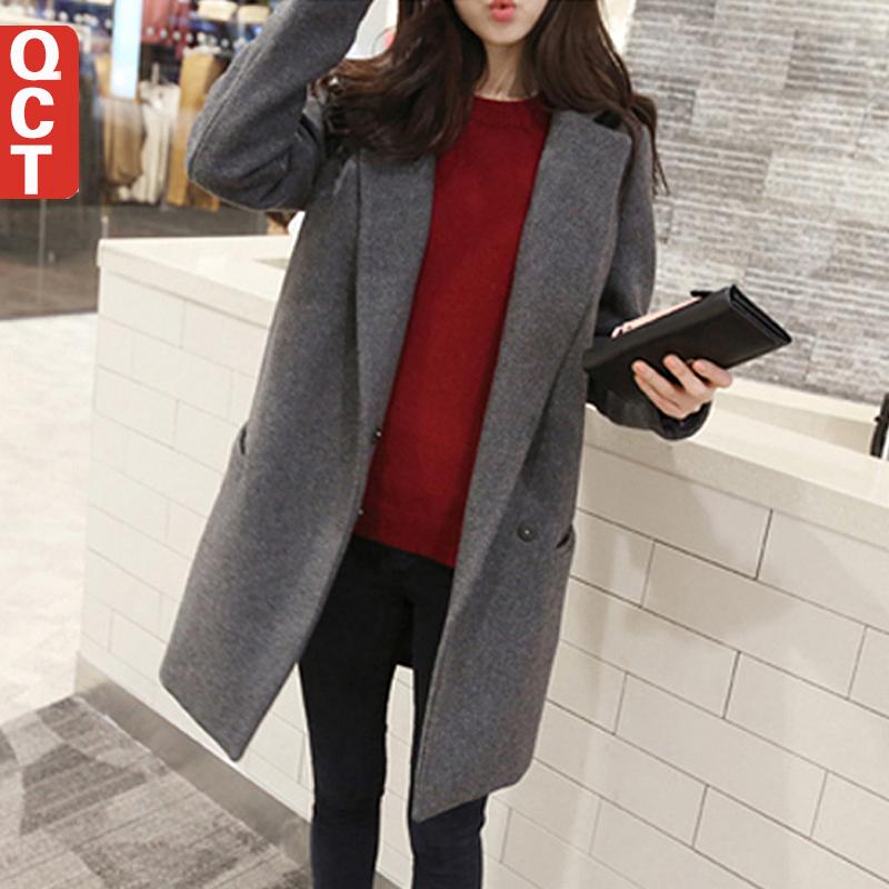 Женская большой воротник широкий Большой размер средней длины - шерстяное пальто для осень и зима