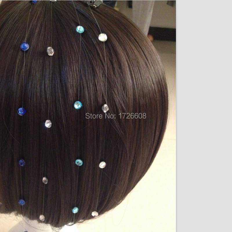 Hair Jewelry Beautiful Newest Gem Hair Extension Hair Jewelry Crystal Flash Trendy Bride Hair Maker Colorful Decoration Acrylic Glass Stone Women Girls 100% Original