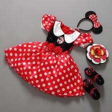 Retail Minnie Mouse Dress Mini Mouse Costume Ballet Tutu Dress+Ear 2-9Y 80-160cm girls chiffon dress