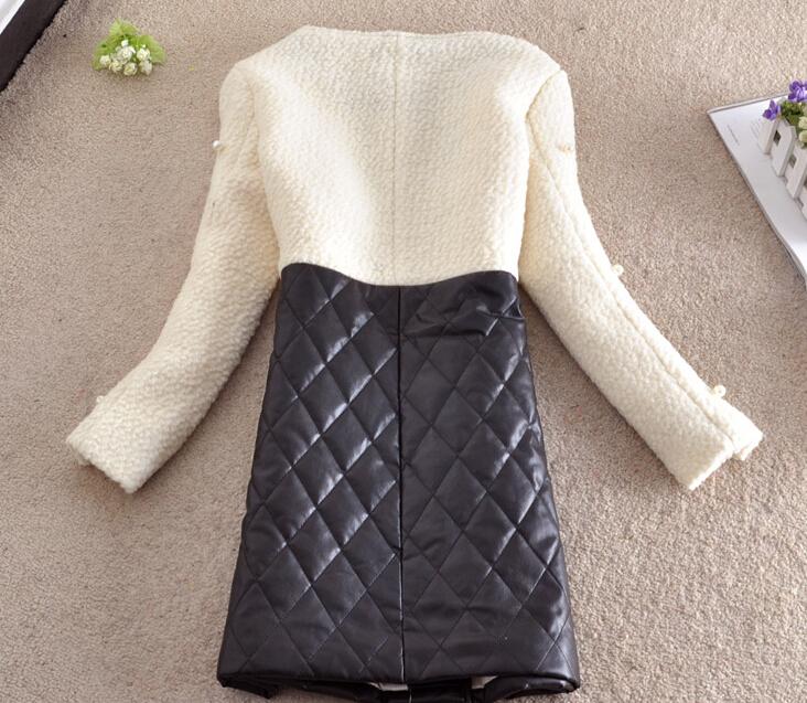 Зима сладкий гвоздь жемчуг хлопок шерсть пальто полиуретан шитьё шерстяная ткань компактный ароматизация ветер шерстяная ткань пальто женское h793