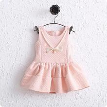 New arrival baby girl dress 6 24months air cotton Noble Pearl necklace baby cute vest clothing