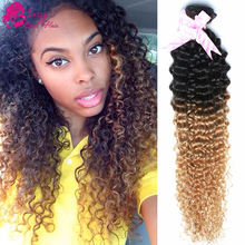 Alibarbara Virgin Malaysian Curly Hair Ombre Kinky Curly Hair Weave Wet And Wavy Human Hair 1b