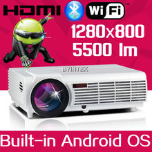 Best 1280×800 Android 4.4 Wifi Home Theater Smart 1080P Video LCD Video LED full HD HDMI Projector For Iphone Android