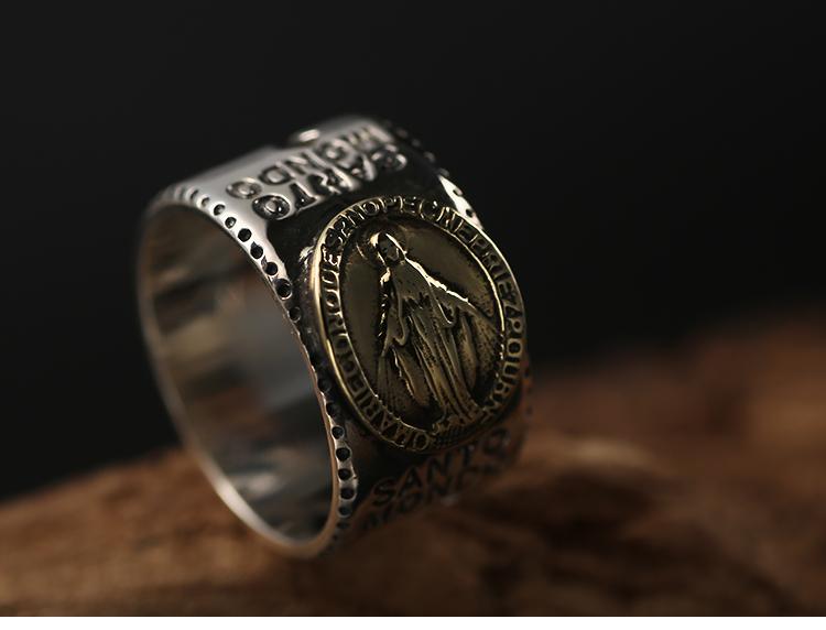 611a0b87886c ZABRA Solid 925 Silver Ring Men Gold Lord Jesus Christ Vintage ...