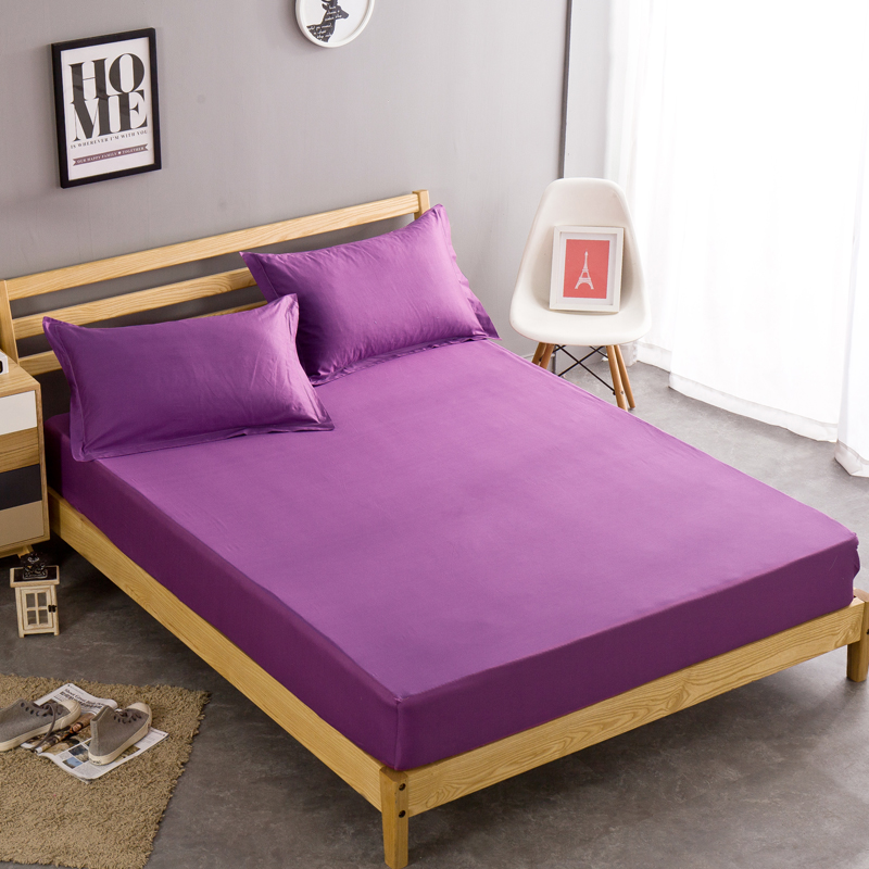 100 cotton single twin full queen size purple solid color sheets fitted bed sheet elastic. Black Bedroom Furniture Sets. Home Design Ideas