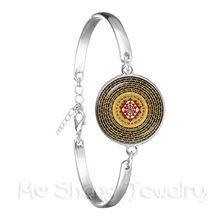 Индийский счастливый цветок ювелирные изделия религиозные мандалы трендовый браслет цепочка подвеска 18 мм стеклянный кабошон Ом Йога ювел...(Китай)