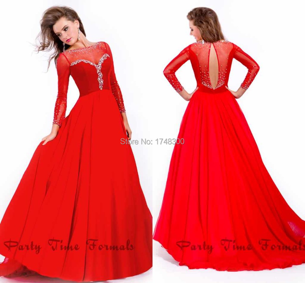 Red Long Gown With Sleeves - Women's Gowns And Formal Dresses