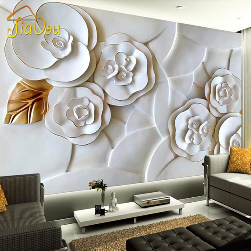 Custom Mural Wallpaper 3d Stereoscopic Relief Pearl: Custom 3D Photo Wallpaper White Rose Flower 3D