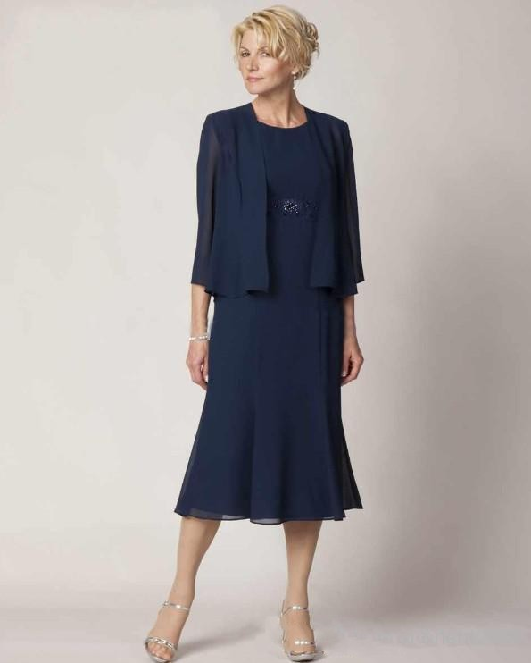 Simple Elegant Tea Length Chiffon Cap Sleeve Wedding: Tea Length Navy Chiffon Mother Of The Bride Dresses With