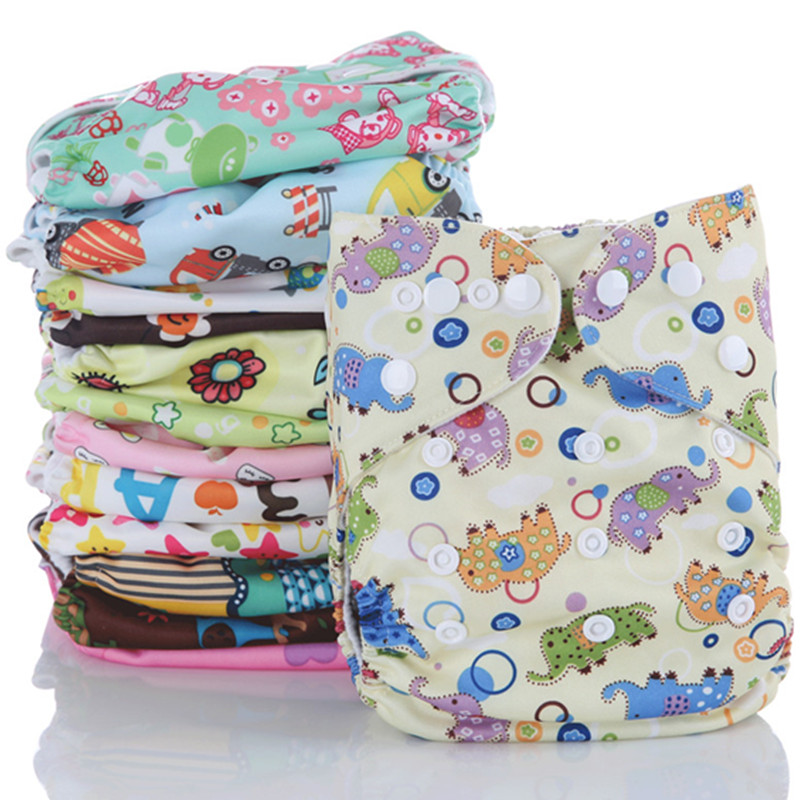 10PCS Reusable Waterproof Cloth Diaper Baby Nappy Printed PUL Double Row Snap Suede Cloth Inner Wholesale