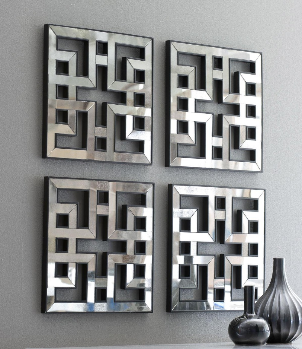 mirrored wall decor fretwork square mirror framed wall art in wall stickers from home garden. Black Bedroom Furniture Sets. Home Design Ideas