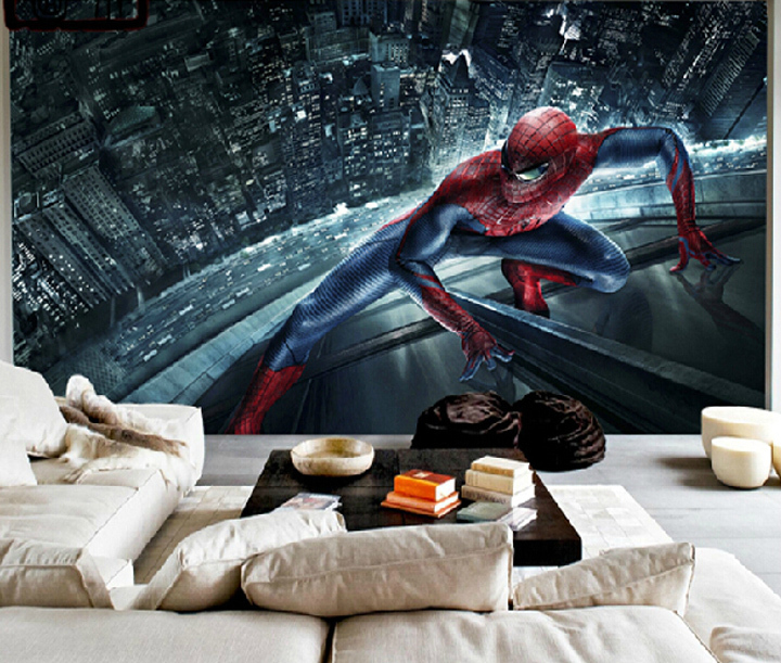 Spiderman Wallpaper For Bedroom: Spiderman Murals 3D Boys Bedroom Wallpaper Carton Wall