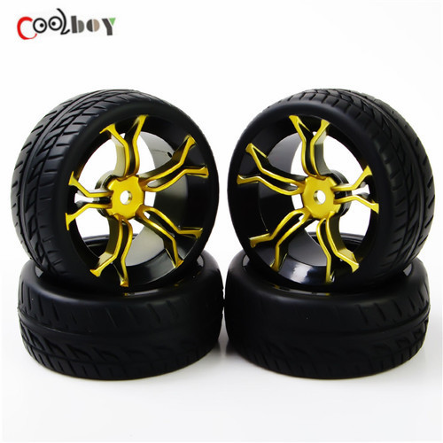 4Pcs Rubber Tires tyre For HSP RC 1:10 Flat Racing On Road Car PP0150+MPNKG ca