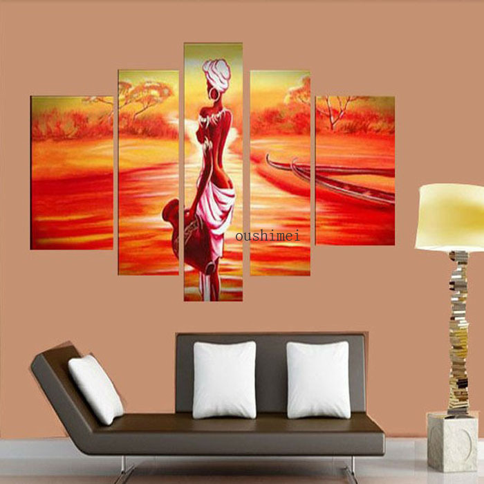 Us 29 9 Hand Painted India Gril Oil Painting On Canvas 5pcs Set Modern Sunrise Paint Art Living Room Office Decor Seascape Pictuers In