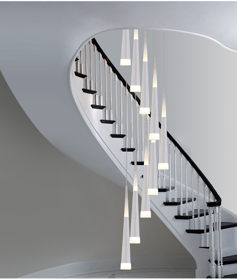 Lighting Basement Washroom Stairs: 1.5 3.5M Milan Led Cone Lights Modern Spiral Chandelier