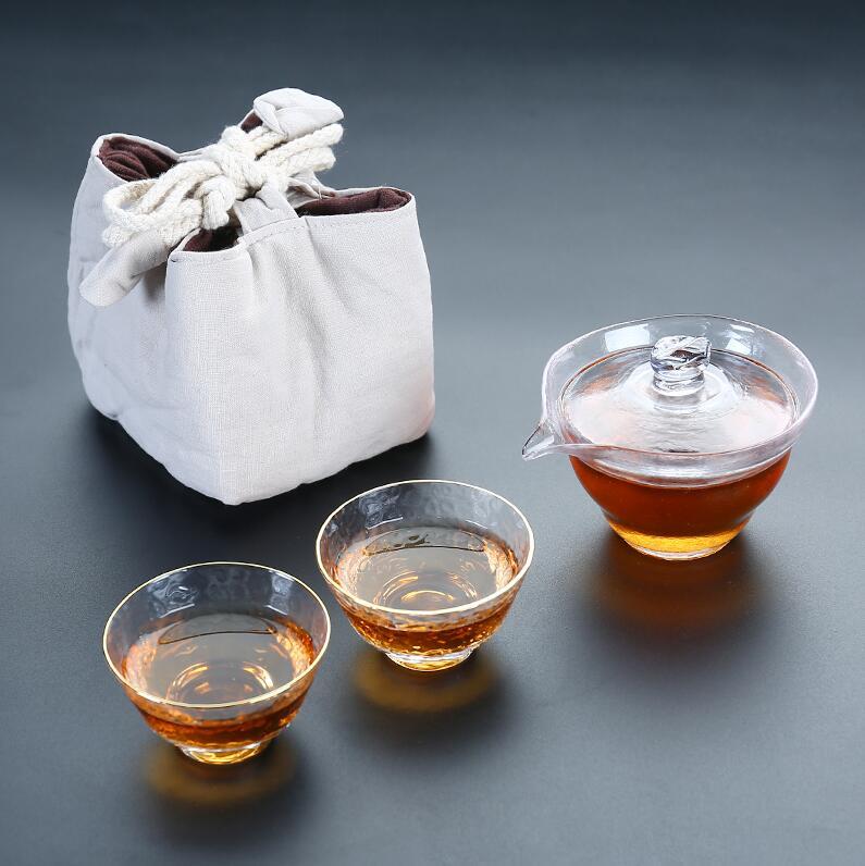 TANGPIN термостойкий стеклянный чайник gaiwan Кофеварка портативный дорожный чайный набор с тканевой сумкой(Китай)