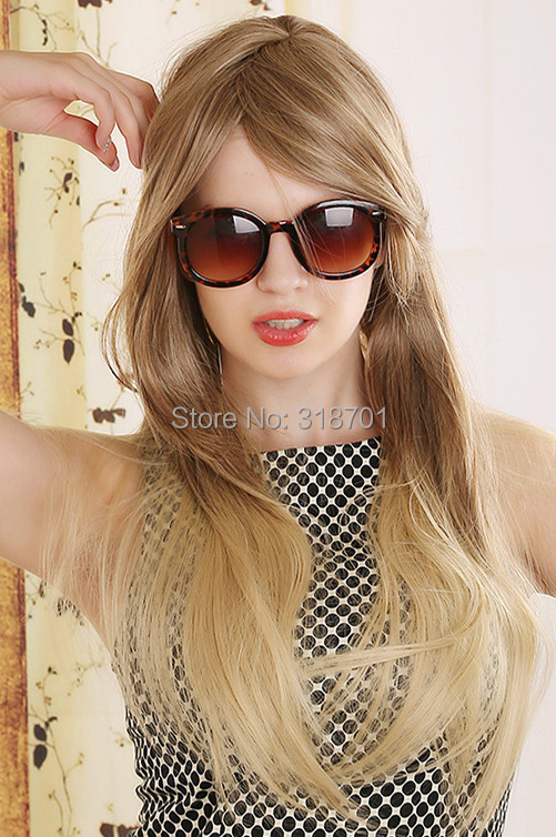 Ombre wig Long Natural straight Hair wig Top Quality Fashion Brown Blonde Peruca Synthetic Hair wigs free shipping
