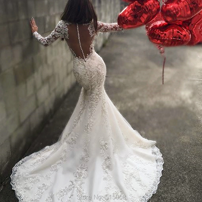 Sexy Open Back Long Sleeves Mermaid Wedding Dresses Lace