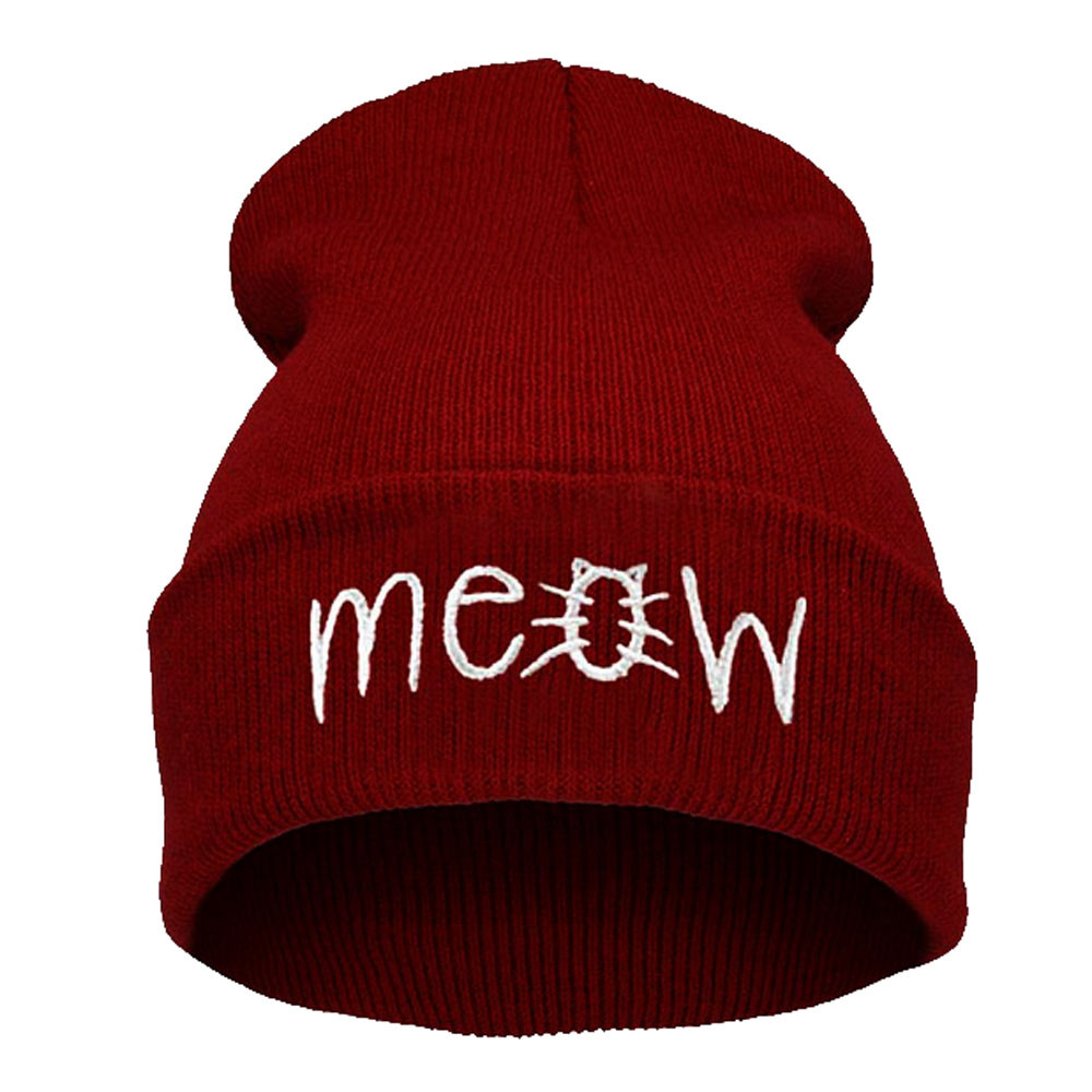Feitong Hats For Women Female Winter Hats For Women Hat Knitting MEOW Letter Beanie Cap Bonnet Femme Hiphop Cap Warm Beanie Hat